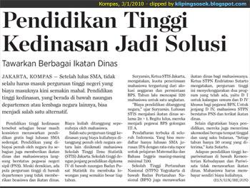 sekolah dinas kampus kedinasan indonesia