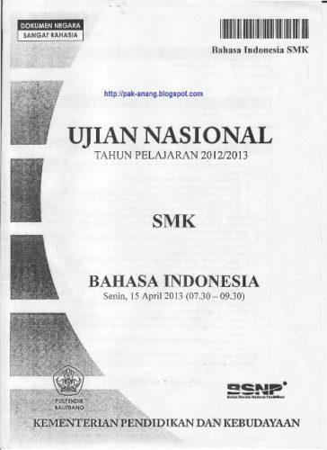Naskah Soal UN SMK Bahasa Indonesia Tahun 2014