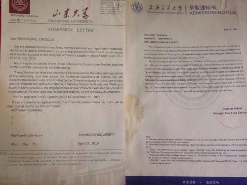 LoA dari Universitas di Tiongkok, yang kanan punya saya, kehujanan, wkwk